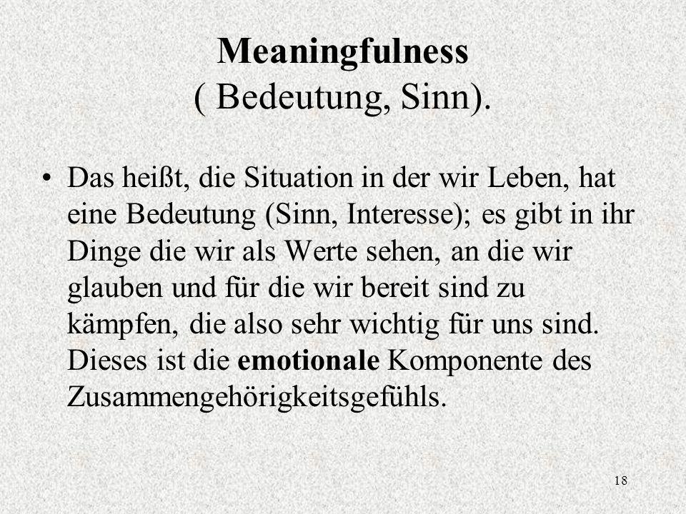 18 Meaningfulness ( Bedeutung, Sinn).