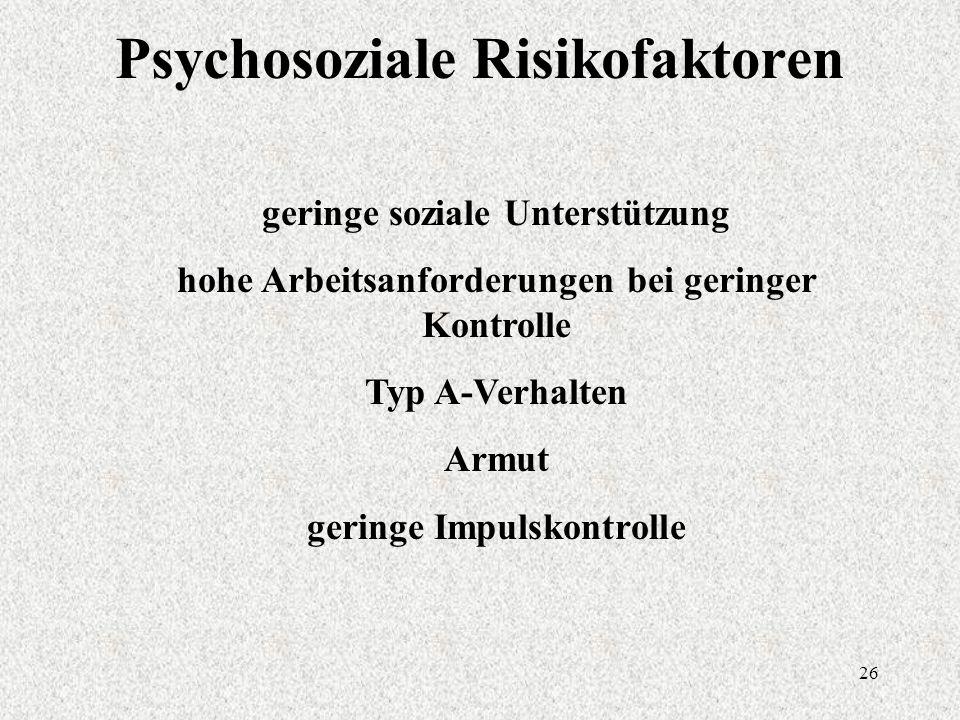 26 Psychosoziale Risikofaktoren geringe soziale Unterstützung hohe Arbeitsanforderungen bei geringer Kontrolle Typ A-Verhalten Armut geringe Impulskontrolle