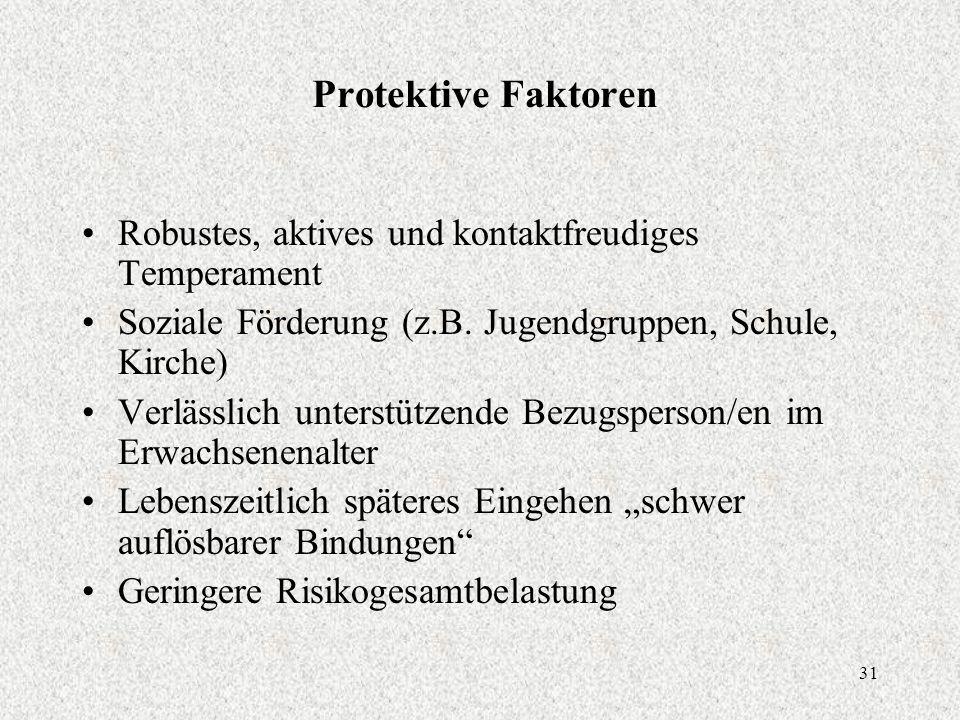 31 Protektive Faktoren Robustes, aktives und kontaktfreudiges Temperament Soziale Förderung (z.B.