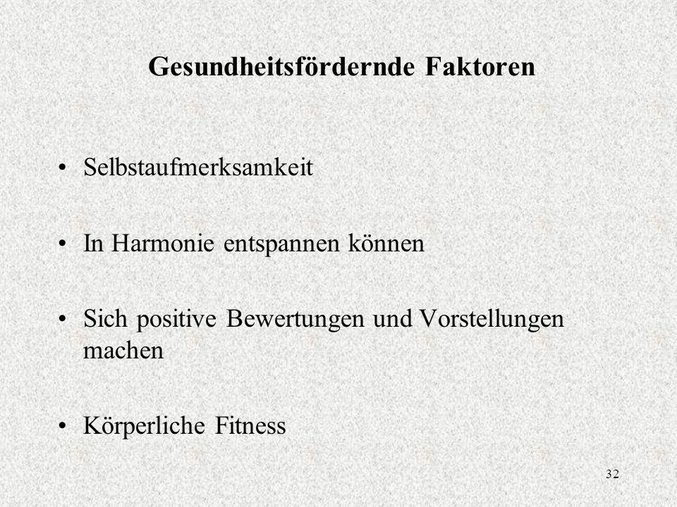 32 Gesundheitsfördernde Faktoren Selbstaufmerksamkeit In Harmonie entspannen können Sich positive Bewertungen und Vorstellungen machen Körperliche Fitness
