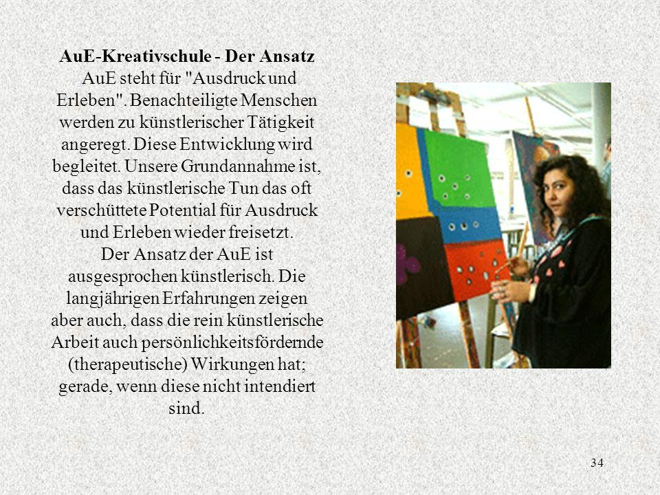 34 AuE-Kreativschule - Der Ansatz AuE steht für Ausdruck und Erleben .