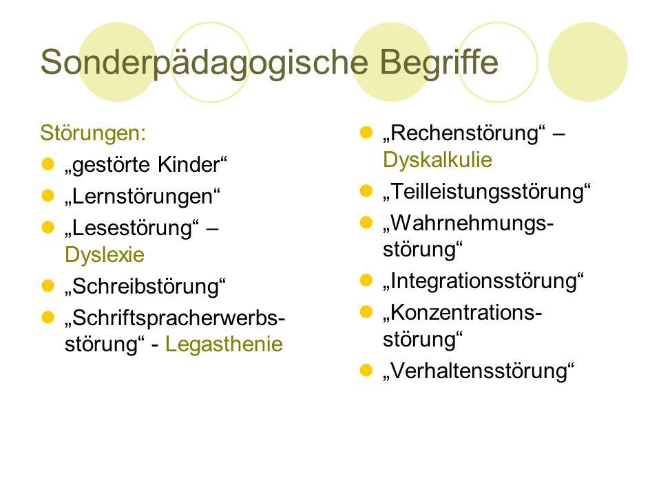 """Sonderpädagogische Begriffe Störungen: """"gestörte Kinder"""" """"Lernstörungen"""" """"Lesestörung"""" – Dyslexie """"Schreibstörung"""" """"Schriftspracherwerbs- störung"""" - L"""