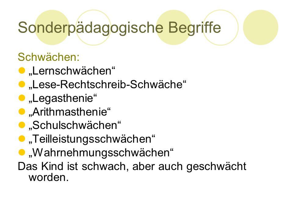 """Sonderpädagogische Begriffe Schwächen: """"Lernschwächen"""" """"Lese-Rechtschreib-Schwäche"""" """"Legasthenie"""" """"Arithmasthenie"""" """"Schulschwächen"""" """"Teilleistungsschw"""