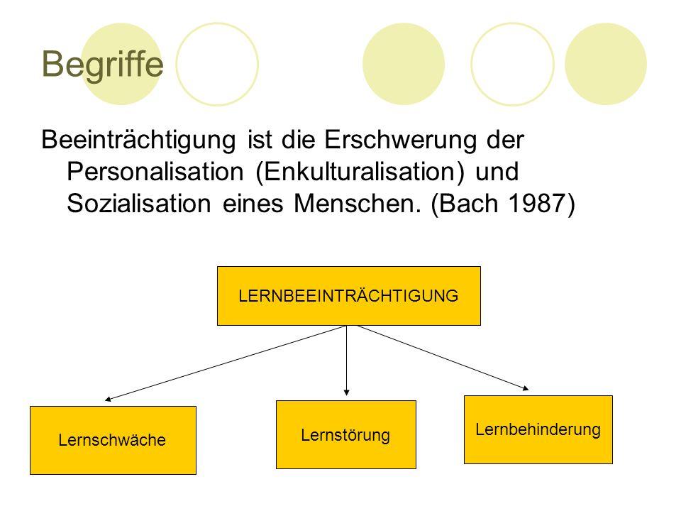 Begriffe Beeinträchtigung ist die Erschwerung der Personalisation (Enkulturalisation) und Sozialisation eines Menschen. (Bach 1987) LERNBEEINTRÄCHTIGU