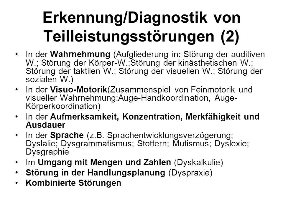 Erkennung/Diagnostik von Teilleistungsstörungen (2) In der Wahrnehmung (Aufgliederung in: Störung der auditiven W.; Störung der Körper-W.;Störung der kinästhetischen W.; Störung der taktilen W.; Störung der visuellen W.; Störung der sozialen W.) In der Visuo-Motorik(Zusammenspiel von Feinmotorik und visueller Wahrnehmung:Auge-Handkoordination, Auge- Körperkoordination) In der Aufmerksamkeit, Konzentration, Merkfähigkeit und Ausdauer In der Sprache (z.B.