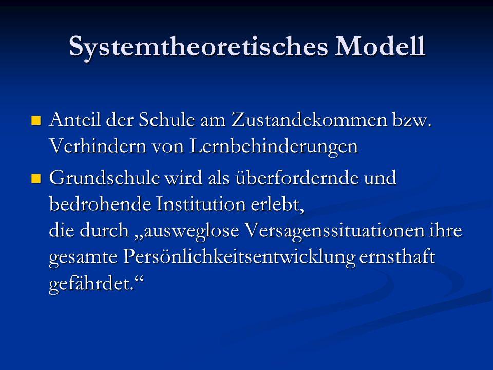 Systemtheoretisches Modell Anteil der Schule am Zustandekommen bzw.