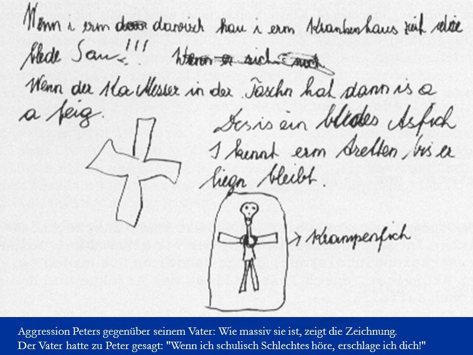 Aggression Peters gegenüber seinem Vater: Wie massiv sie ist, zeigt die Zeichnung.