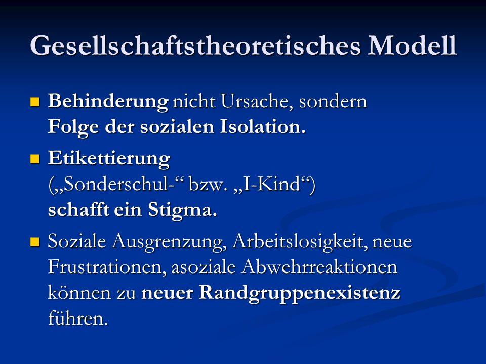 Gesellschaftstheoretisches Modell Behinderung nicht Ursache, sondern Folge der sozialen Isolation.