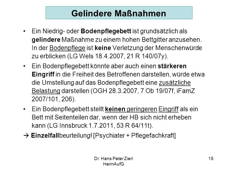 Dr. Hans Peter Zierl HeimAufG 15 Gelindere Maßnahmen Ein Niedrig- oder Bodenpflegebett ist grundsätzlich als gelindere Maßnahme zu einem hohen Bettgit
