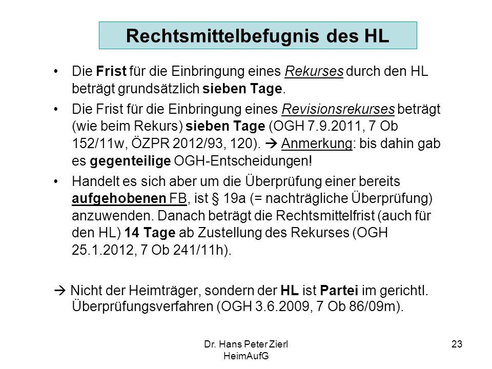 Dr. Hans Peter Zierl HeimAufG 23 Rechtsmittelbefugnis des HL Die Frist für die Einbringung eines Rekurses durch den HL beträgt grundsätzlich sieben Ta
