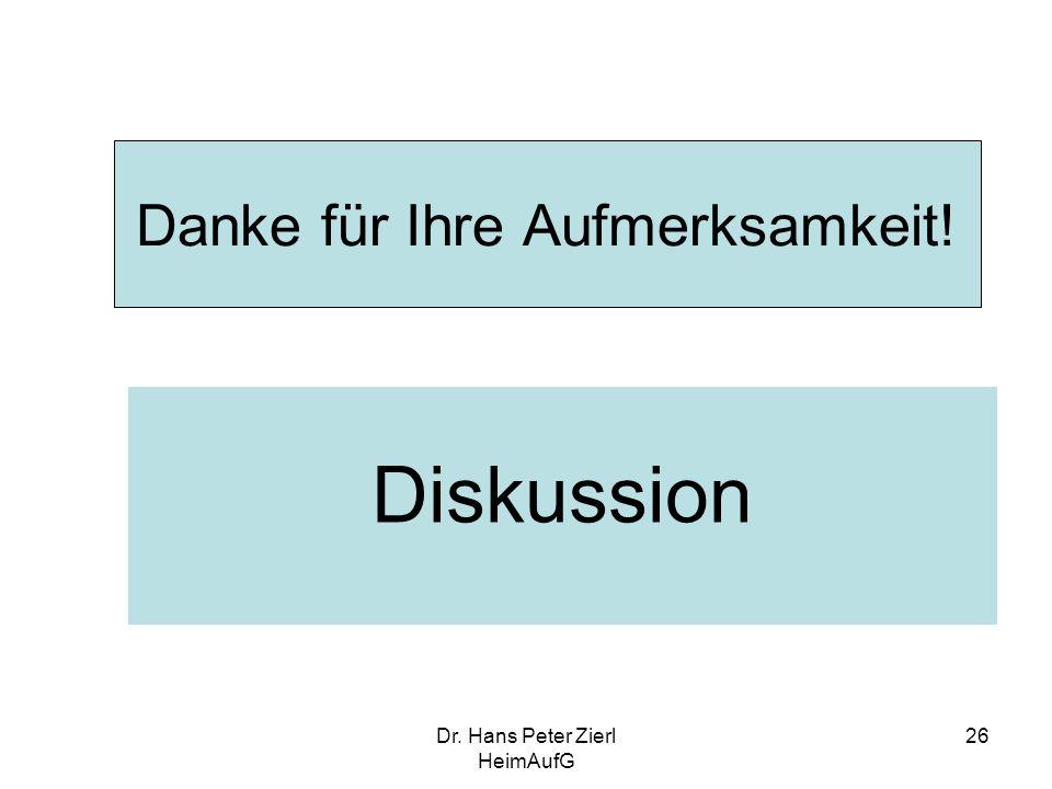 Dr. Hans Peter Zierl HeimAufG 26 Danke für Ihre Aufmerksamkeit! Diskussion