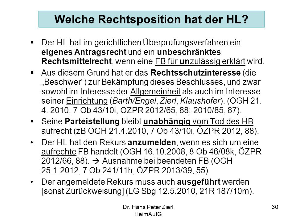 Dr.Hans Peter Zierl HeimAufG 30 Welche Rechtsposition hat der HL.
