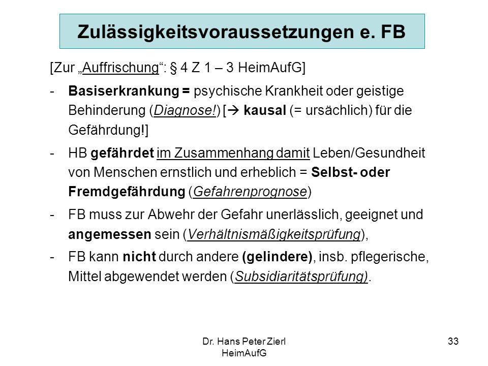 Dr.Hans Peter Zierl HeimAufG 33 Zulässigkeitsvoraussetzungen e.