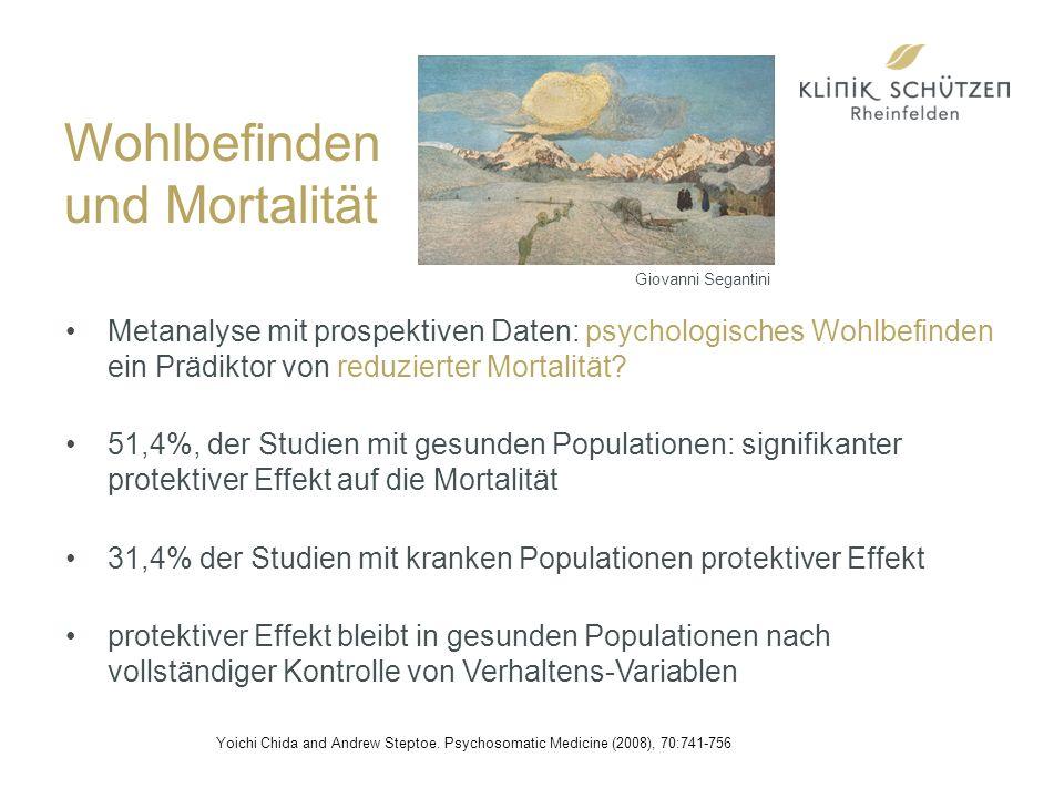 Wohlbefinden und Mortalität Metanalyse mit prospektiven Daten: psychologisches Wohlbefinden ein Prädiktor von reduzierter Mortalität.
