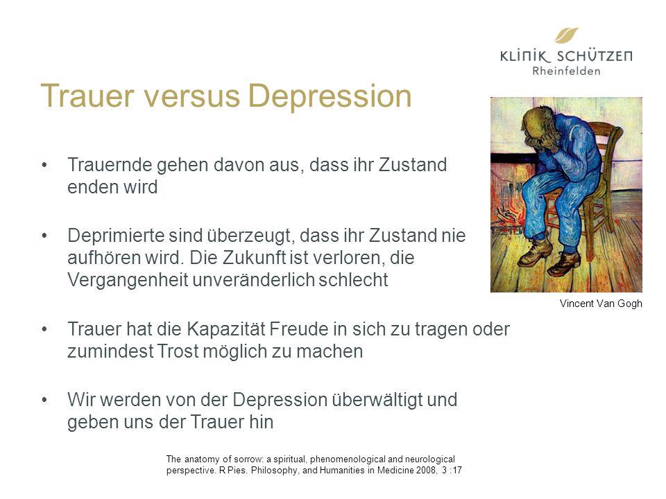 Trauer versus Depression Trauernde gehen davon aus, dass ihr Zustand enden wird Deprimierte sind überzeugt, dass ihr Zustand nie aufhören wird.