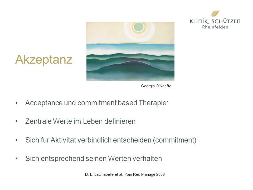 Akzeptanz Acceptance und commitment based Therapie: Zentrale Werte im Leben definieren Sich für Aktivität verbindlich entscheiden (commitment) Sich entsprechend seinen Werten verhalten D.