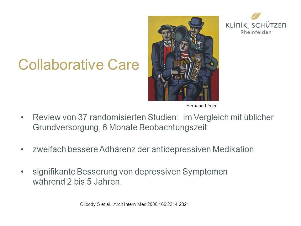Collaborative Care Review von 37 randomisierten Studien: im Vergleich mit üblicher Grundversorgung, 6 Monate Beobachtungszeit: zweifach bessere Adhärenz der antidepressiven Medikation signifikante Besserung von depressiven Symptomen während 2 bis 5 Jahren.
