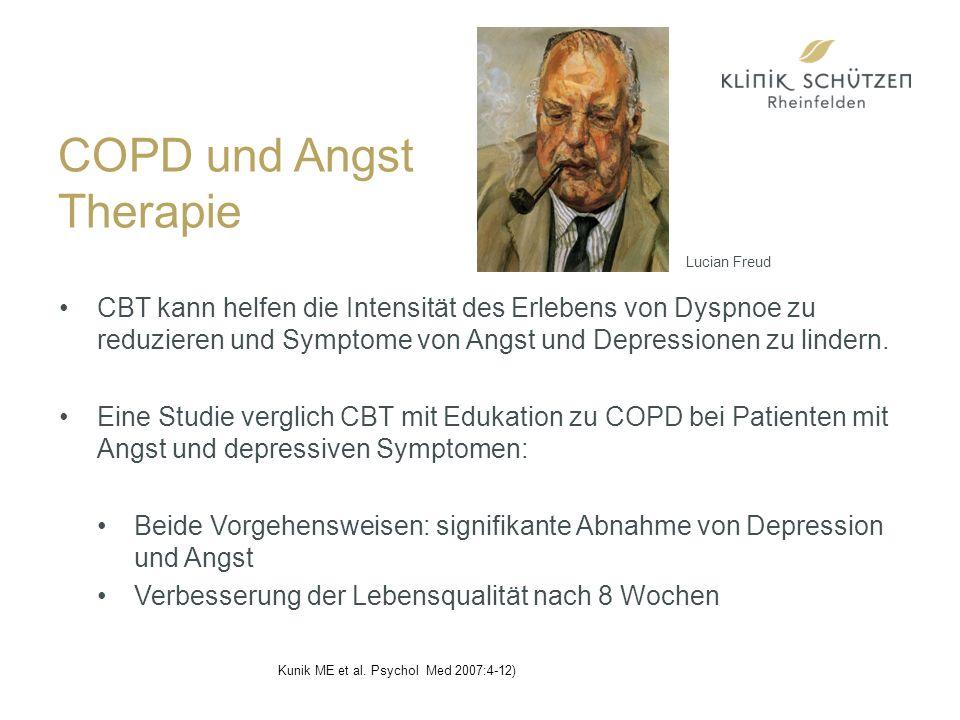 COPD und Angst Therapie CBT kann helfen die Intensität des Erlebens von Dyspnoe zu reduzieren und Symptome von Angst und Depressionen zu lindern.