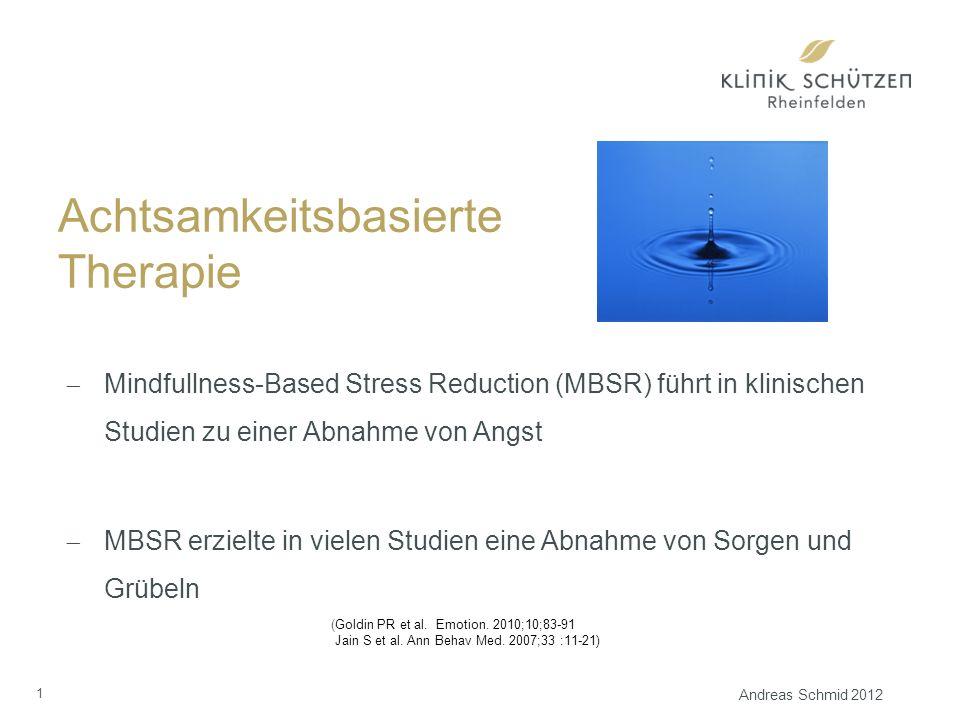 Achtsamkeitsbasierte Therapie  Mindfullness-Based Stress Reduction (MBSR) führt in klinischen Studien zu einer Abnahme von Angst  MBSR erzielte in vielen Studien eine Abnahme von Sorgen und Grübeln (Goldin PR et al.