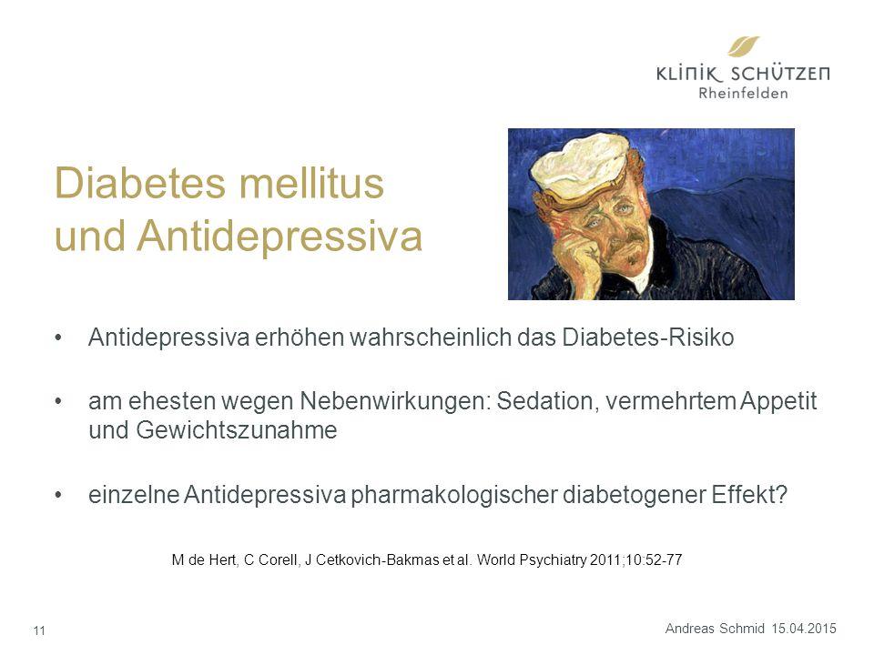 Antidepressiva erhöhen wahrscheinlich das Diabetes-Risiko am ehesten wegen Nebenwirkungen: Sedation, vermehrtem Appetit und Gewichtszunahme einzelne Antidepressiva pharmakologischer diabetogener Effekt.