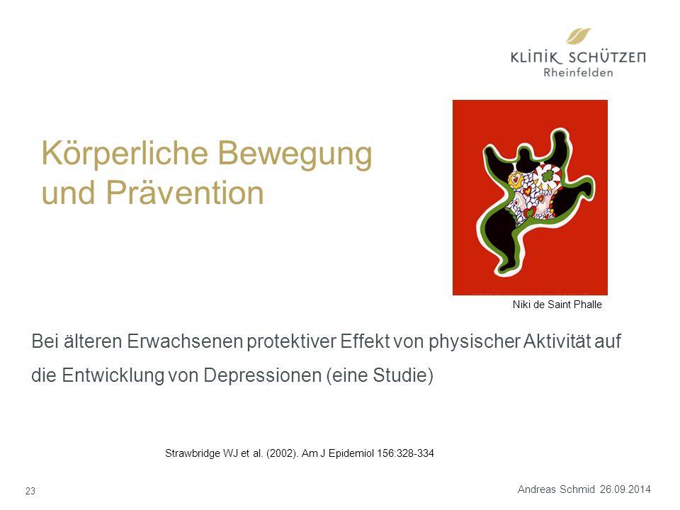Körperliche Bewegung und Prävention Bei älteren Erwachsenen protektiver Effekt von physischer Aktivität auf die Entwicklung von Depressionen (eine Studie) Strawbridge WJ et al.