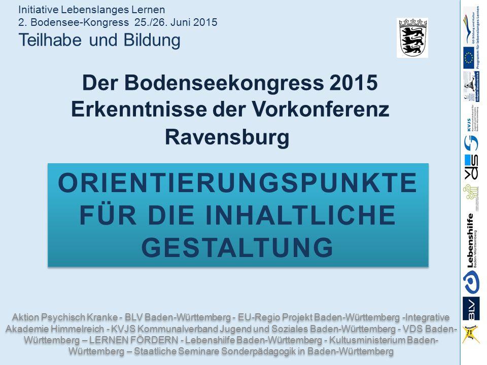 Der Bodenseekongress 2015 Erkenntnisse der Vorkonferenz Ravensburg Aktion Psychisch Kranke - BLV Baden-Württemberg - EU-Regio Projekt Baden-Württember