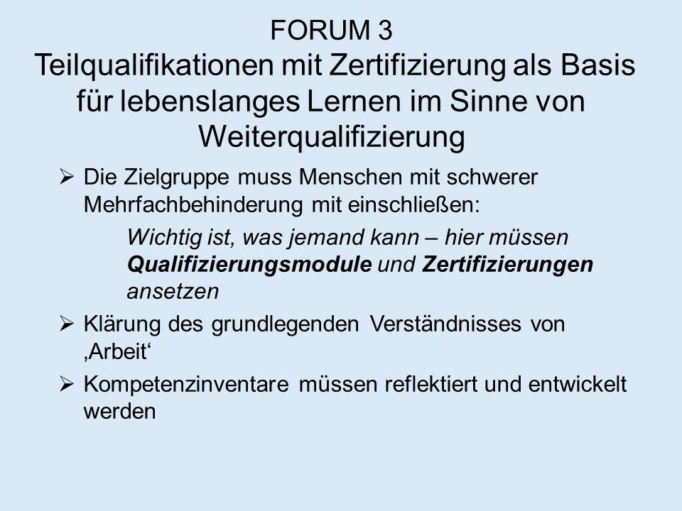 FORUM 3 Teilqualifikationen mit Zertifizierung als Basis für lebenslanges Lernen im Sinne von Weiterqualifizierung  Die Zielgruppe muss Menschen mit