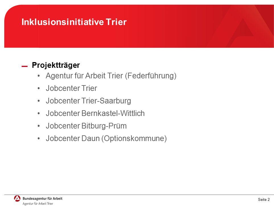 Seite 2 Inklusionsinitiative Trier ▬ Projektträger Agentur für Arbeit Trier (Federführung) Jobcenter Trier Jobcenter Trier-Saarburg Jobcenter Bernkastel-Wittlich Jobcenter Bitburg-Prüm Jobcenter Daun (Optionskommune)