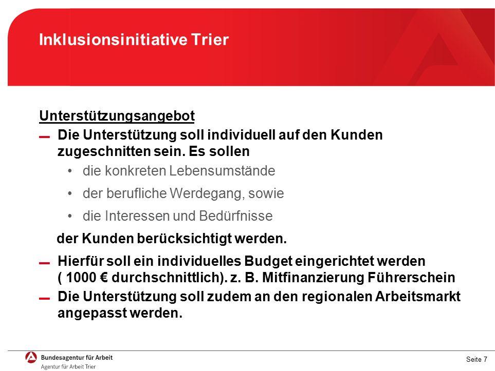 Seite 7 Inklusionsinitiative Trier Unterstützungsangebot ▬ Die Unterstützung soll individuell auf den Kunden zugeschnitten sein.