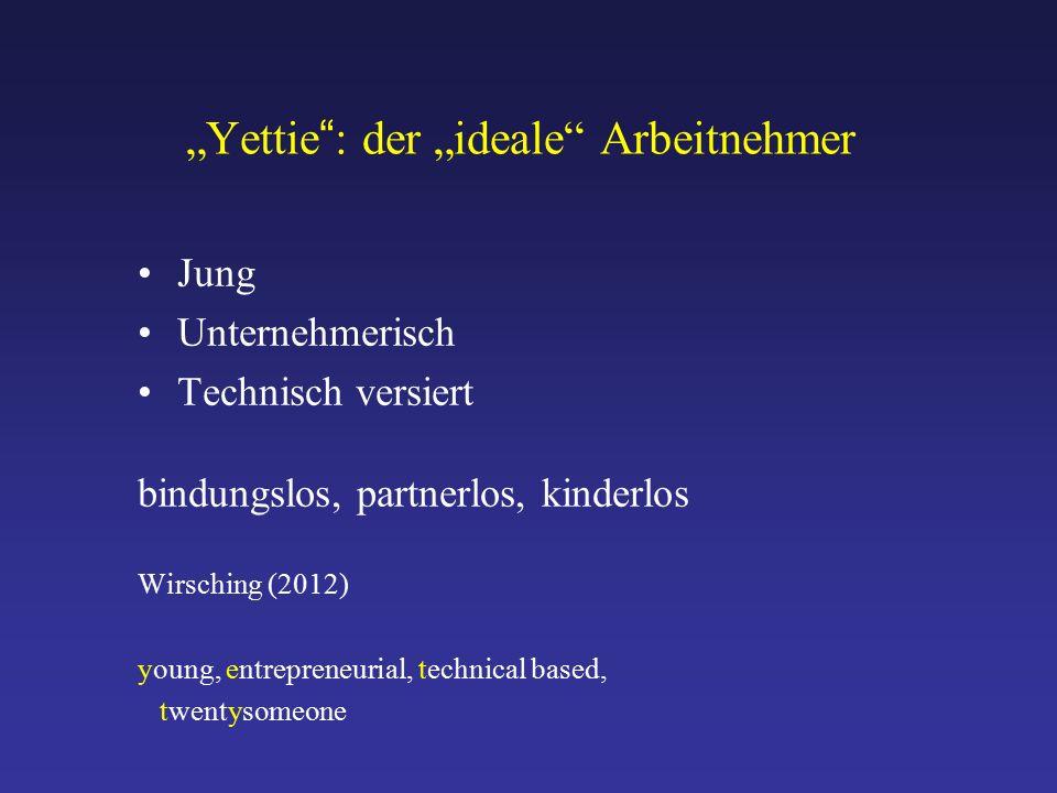 """""""Yettie : der """"ideale Arbeitnehmer Jung Unternehmerisch Technisch versiert bindungslos, partnerlos, kinderlos Wirsching (2012) young, entrepreneurial, technical based, twentysomeone"""
