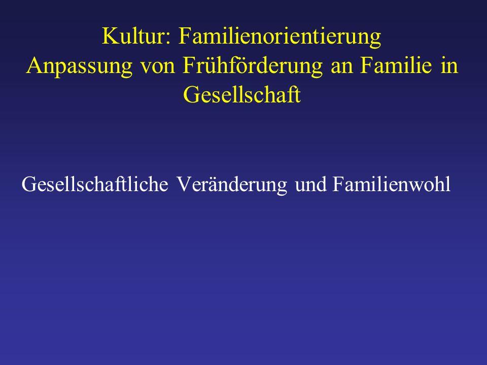 Kultur: Familienorientierung Anpassung von Frühförderung an Familie in Gesellschaft Gesellschaftliche Veränderung und Familienwohl