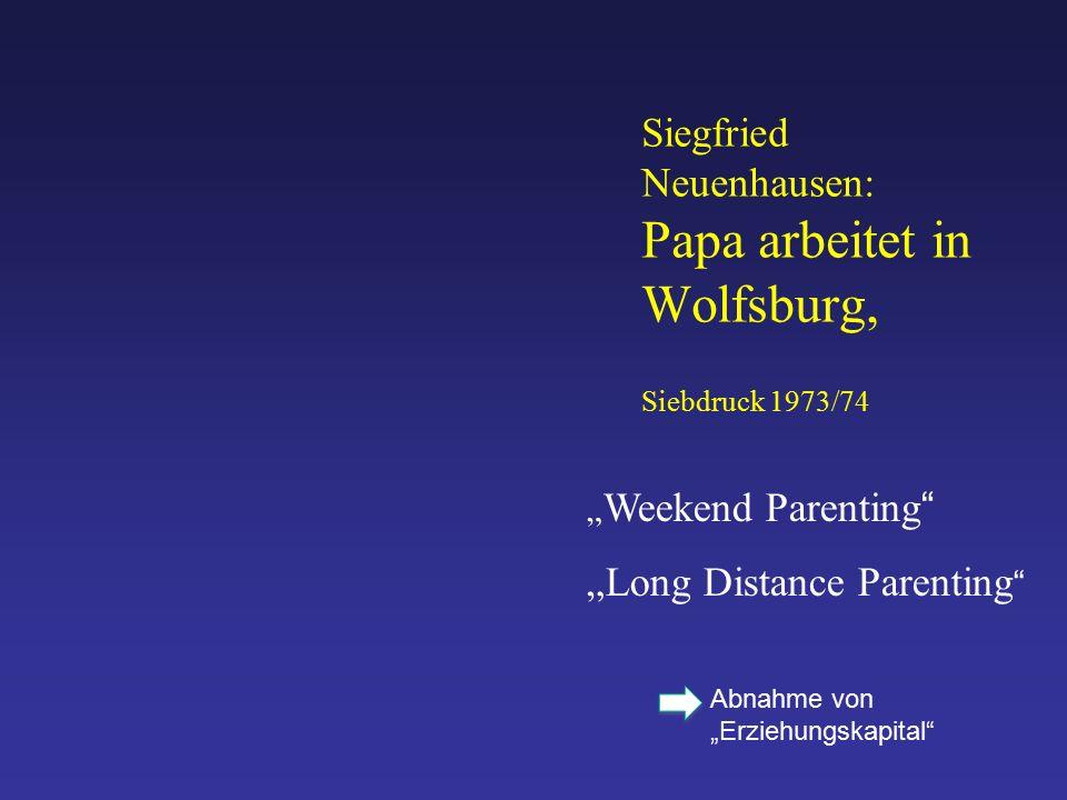 """Siegfried Neuenhausen: Papa arbeitet in Wolfsburg, Siebdruck 1973/74 """" Weekend Parenting """"Long Distance Parenting Abnahme von """"Erziehungskapital"""
