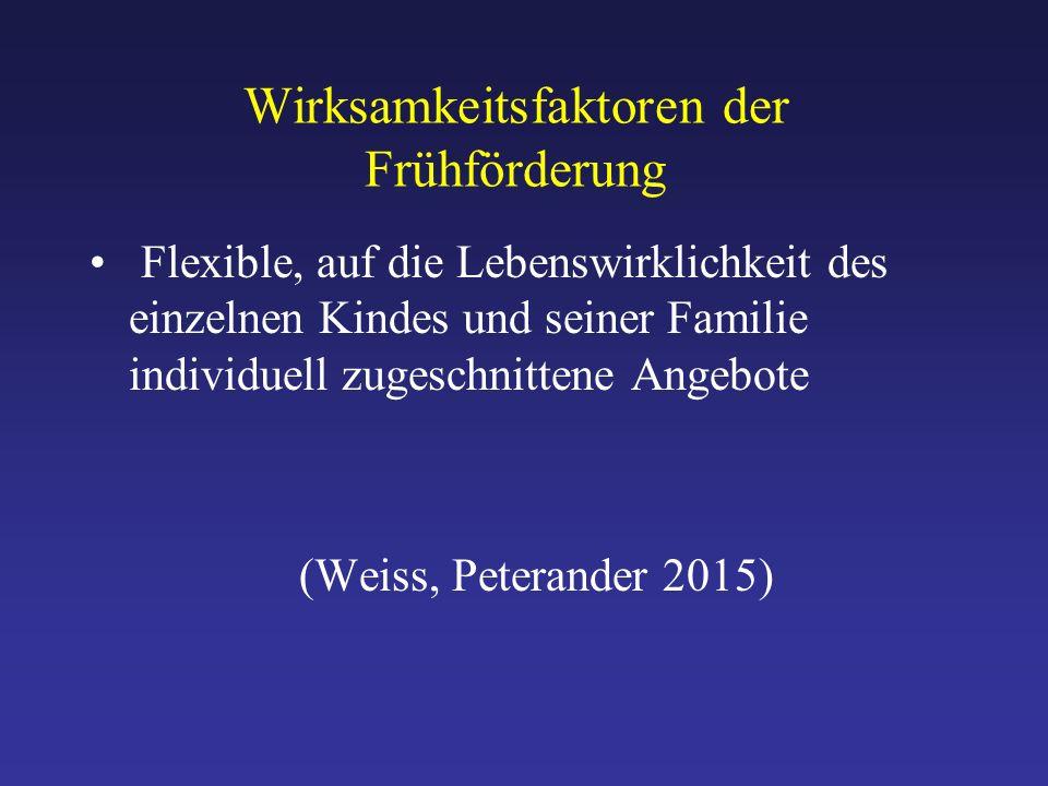 Wirksamkeitsfaktoren der Frühförderung Flexible, auf die Lebenswirklichkeit des einzelnen Kindes und seiner Familie individuell zugeschnittene Angebote (Weiss, Peterander 2015)