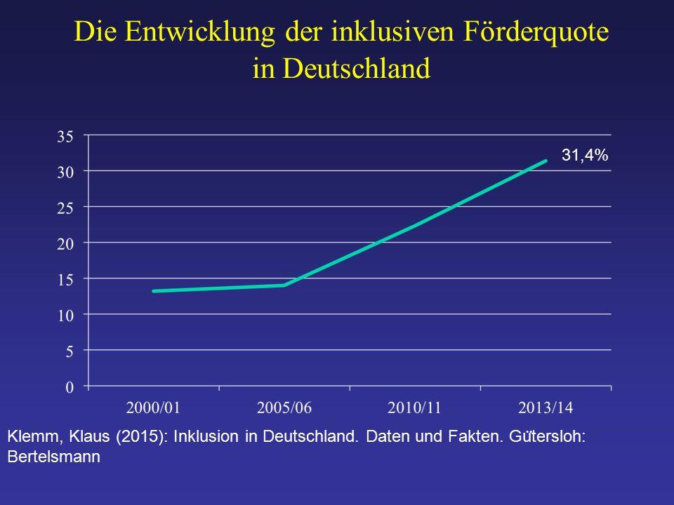 Die Entwicklung der inklusiven Förderquote in Deutschland Klemm, Klaus (2015): Inklusion in Deutschland.