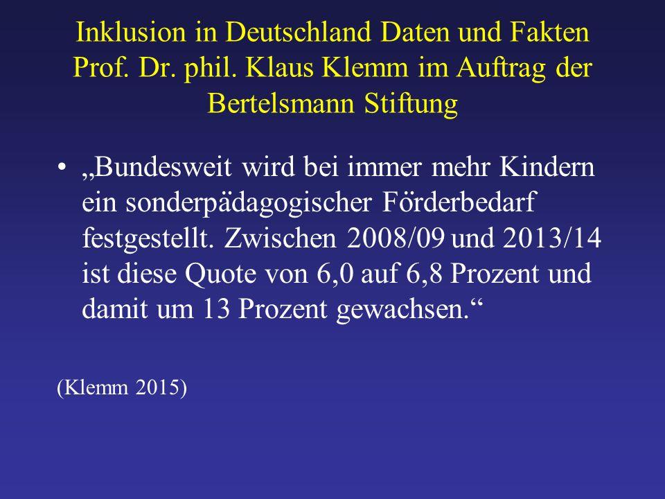 Inklusion in Deutschland Daten und Fakten Prof. Dr.