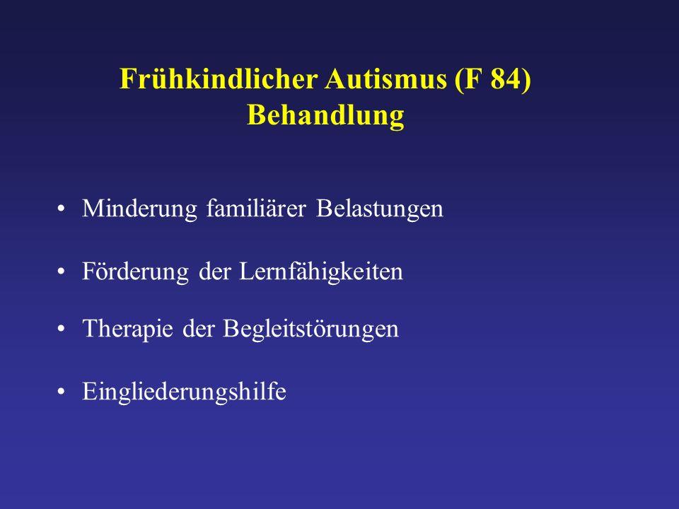 Frühkindlicher Autismus (F 84) Behandlung Minderung familiärer Belastungen Förderung der Lernfähigkeiten Therapie der Begleitstörungen Eingliederungshilfe