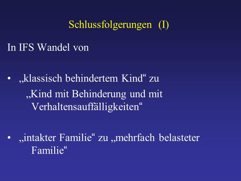"""Schlussfolgerungen (I) In IFS Wandel von """"klassisch behindertem Kind zu """"Kind mit Behinderung und mit Verhaltensauffälligkeiten """"intakter Familie zu """"mehrfach belasteter Familie"""