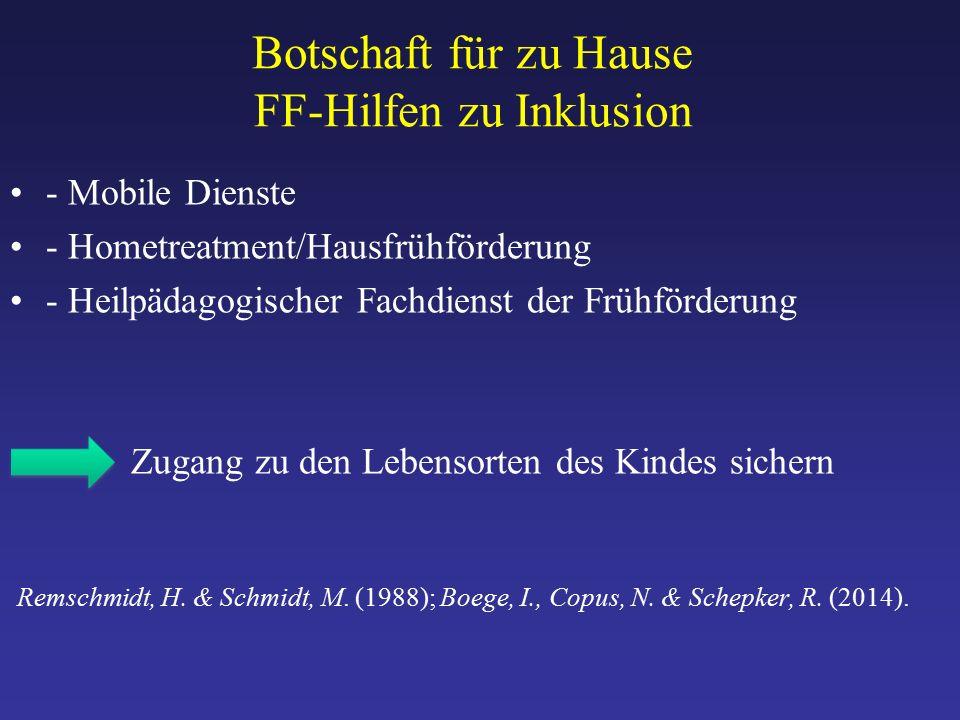 Botschaft für zu Hause FF-Hilfen zu Inklusion - Mobile Dienste - Hometreatment/Hausfrühförderung - Heilpädagogischer Fachdienst der Frühförderung Zugang zu den Lebensorten des Kindes sichern Remschmidt, H.