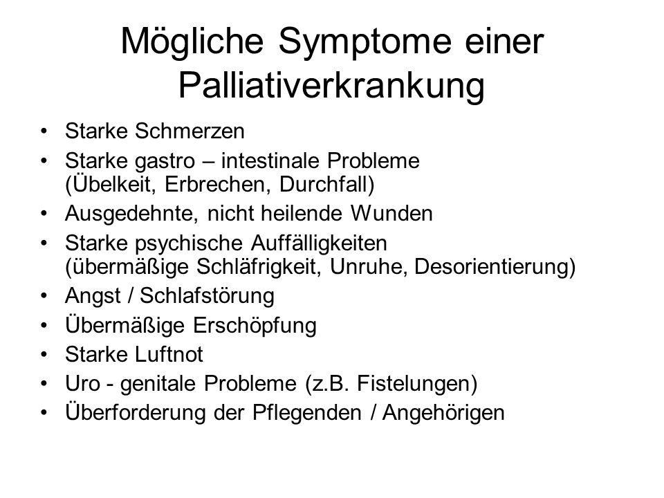 Mögliche Symptome einer Palliativerkrankung Starke Schmerzen Starke gastro – intestinale Probleme (Übelkeit, Erbrechen, Durchfall) Ausgedehnte, nicht