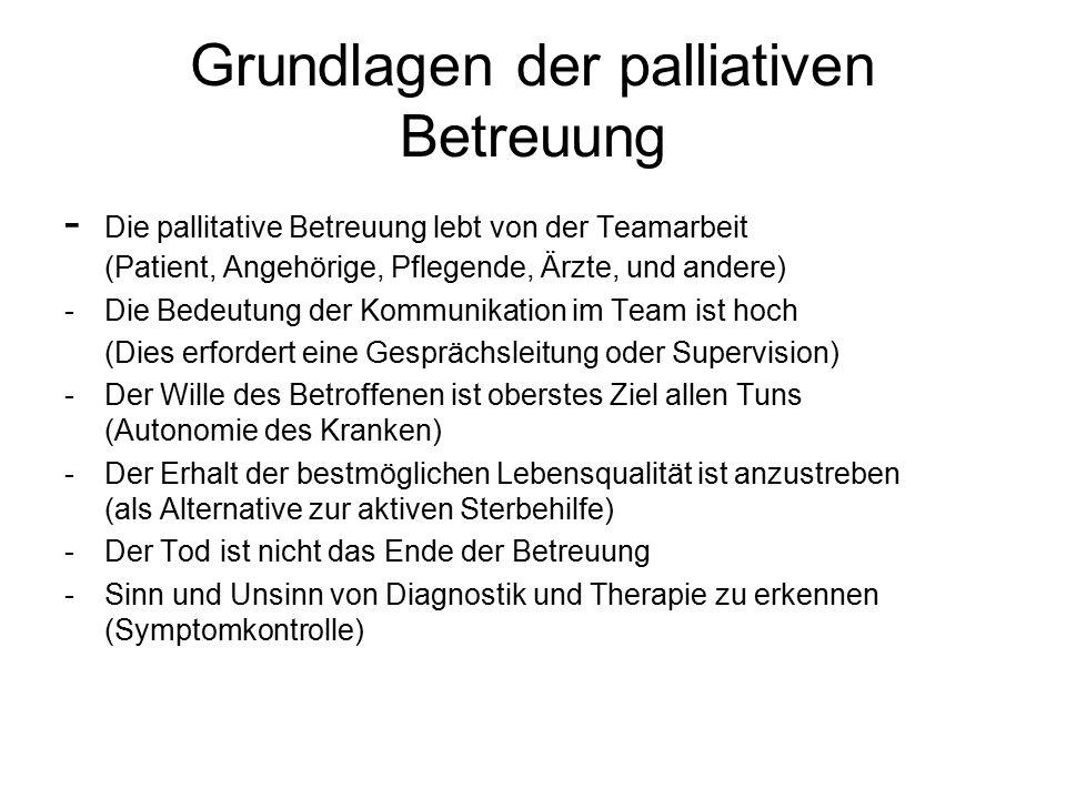 Grundlagen der palliativen Betreuung - Die pallitative Betreuung lebt von der Teamarbeit (Patient, Angehörige, Pflegende, Ärzte, und andere) - Die Bed