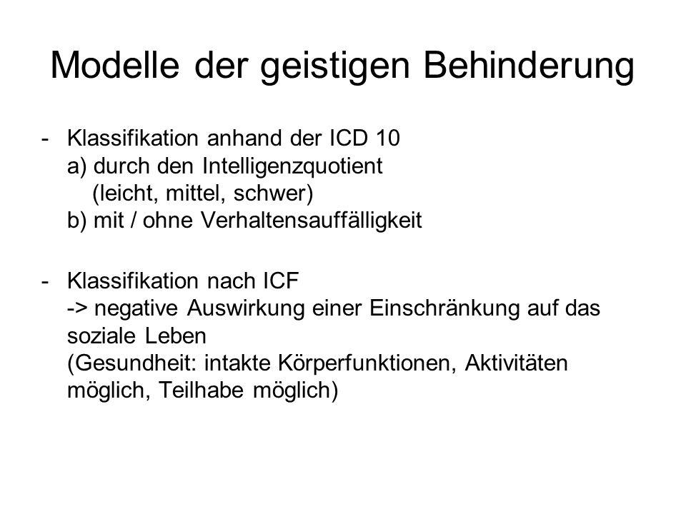 Modelle der geistigen Behinderung -Klassifikation anhand der ICD 10 a) durch den Intelligenzquotient (leicht, mittel, schwer) b) mit / ohne Verhaltens