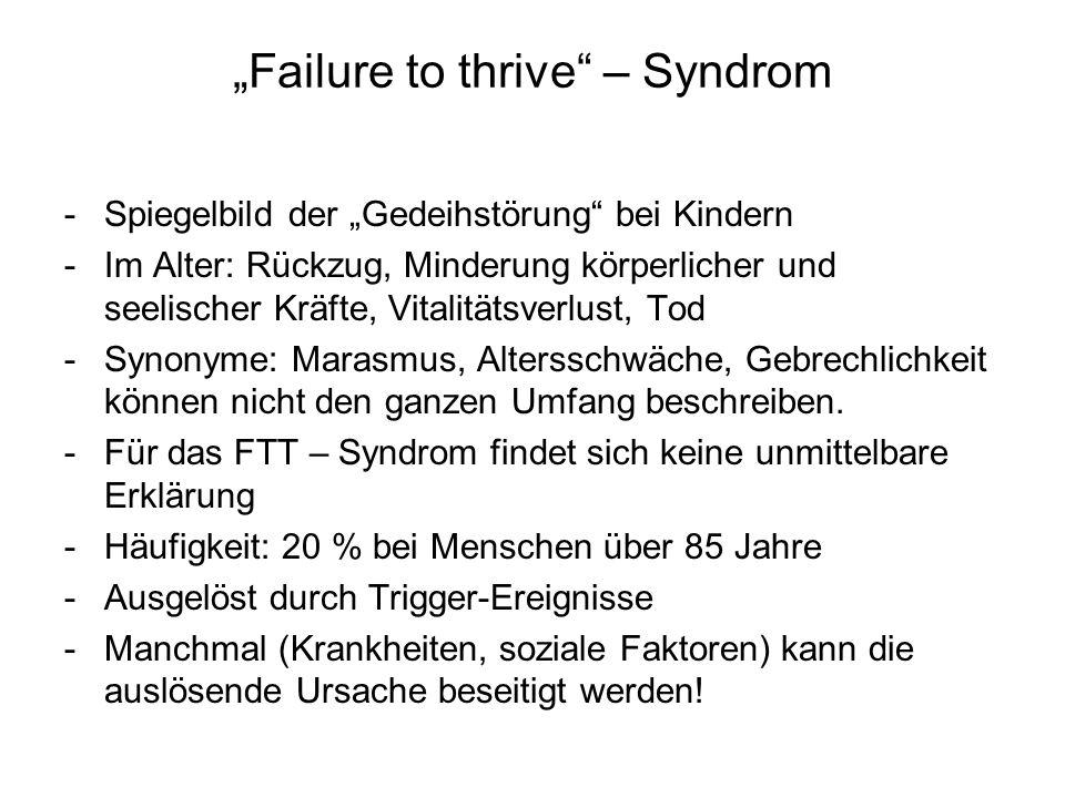 """""""Failure to thrive"""" – Syndrom -Spiegelbild der """"Gedeihstörung"""" bei Kindern -Im Alter: Rückzug, Minderung körperlicher und seelischer Kräfte, Vitalität"""