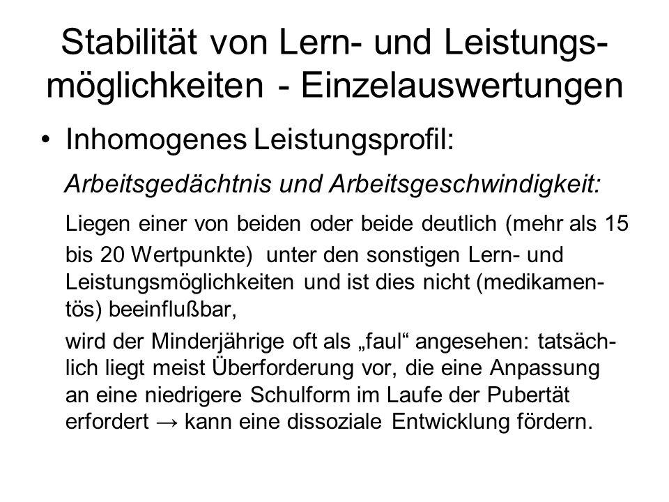 Stabilität von Lern- und Leistungs- möglichkeiten - Einzelauswertungen Inhomogenes Leistungsprofil: Arbeitsgedächtnis und Arbeitsgeschwindigkeit: Lieg