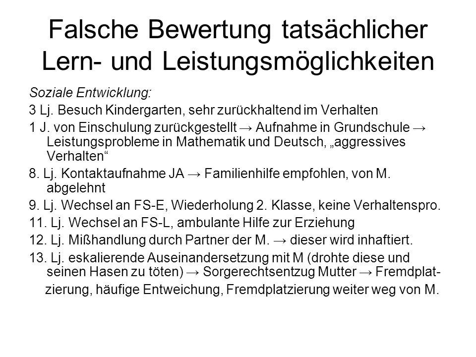 Falsche Bewertung tatsächlicher Lern- und Leistungsmöglichkeiten Soziale Entwicklung: 3 Lj. Besuch Kindergarten, sehr zurückhaltend im Verhalten 1 J.