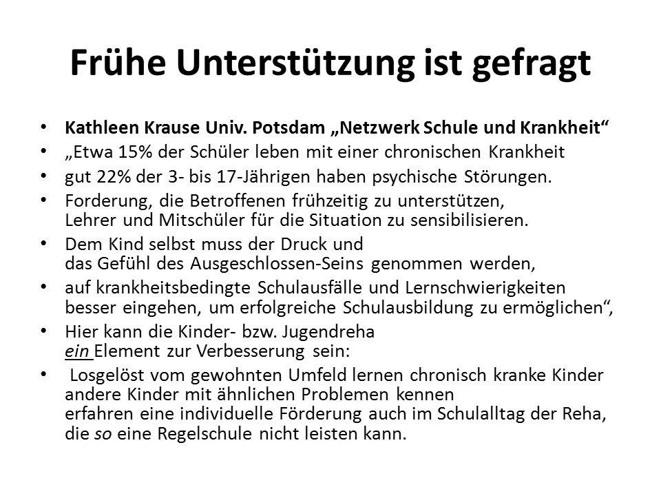 """Frühe Unterstützung ist gefragt Kathleen Krause Univ. Potsdam """"Netzwerk Schule und Krankheit"""" """"Etwa 15% der Schüler leben mit einer chronischen Krankh"""