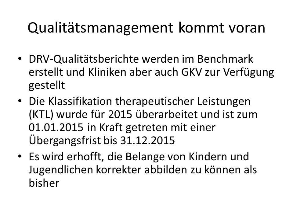 Qualitätsmanagement kommt voran DRV-Qualitätsberichte werden im Benchmark erstellt und Kliniken aber auch GKV zur Verfügung gestellt Die Klassifikation therapeutischer Leistungen (KTL) wurde für 2015 überarbeitet und ist zum 01.01.2015 in Kraft getreten mit einer Übergangsfrist bis 31.12.2015 Es wird erhofft, die Belange von Kindern und Jugendlichen korrekter abbilden zu können als bisher