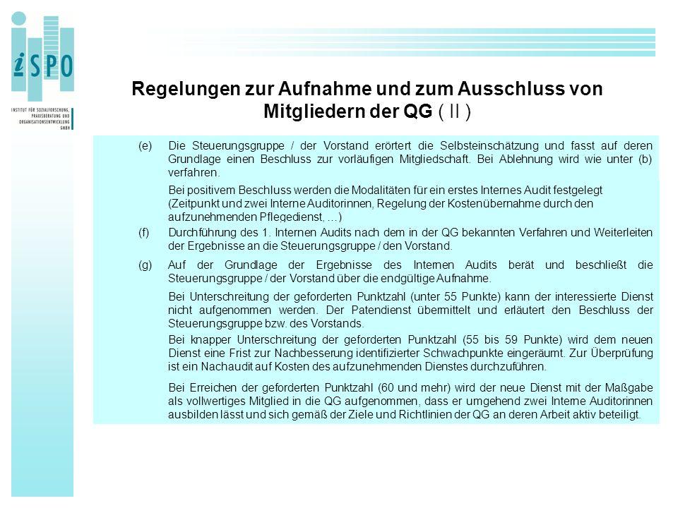 Regelungen zur Aufnahme und zum Ausschluss von Mitgliedern der QG ( II ) (e)Die Steuerungsgruppe / der Vorstand erörtert die Selbsteinschätzung und fa