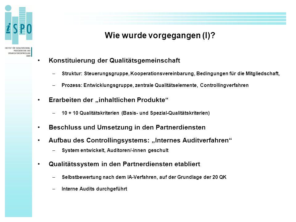 Wie wurde vorgegangen (I)? Konstituierung der Qualitätsgemeinschaft –Struktur: Steuerungsgruppe, Kooperationsvereinbarung, Bedingungen für die Mitglie
