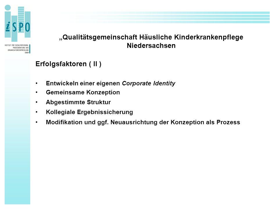 """""""Qualitätsgemeinschaft Häusliche Kinderkrankenpflege Niedersachsen Erfolgsfaktoren ( II ) Entwickeln einer eigenen Corporate Identity Gemeinsame Konze"""