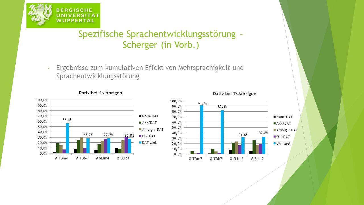 Spezifische Sprachentwicklungsstörung – Scherger (in Vorb.) - Ergebnisse zum kumulativen Effekt von Mehrsprachigkeit und Sprachentwicklungsstörung